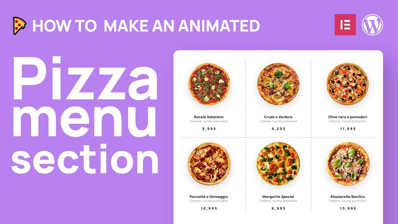 AdobeXd to WordPress: Restaurant Design pizza section with mouse hover animations 01